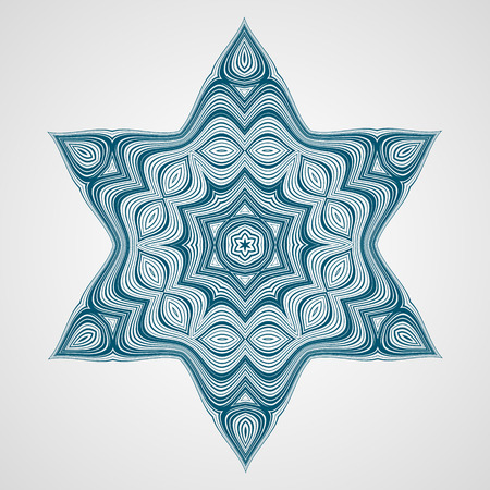 estrella de david: Ornamento redondo abstracto. Étnico Mandala del fractal. Vector Círculo Meditación tatuaje. David estrella