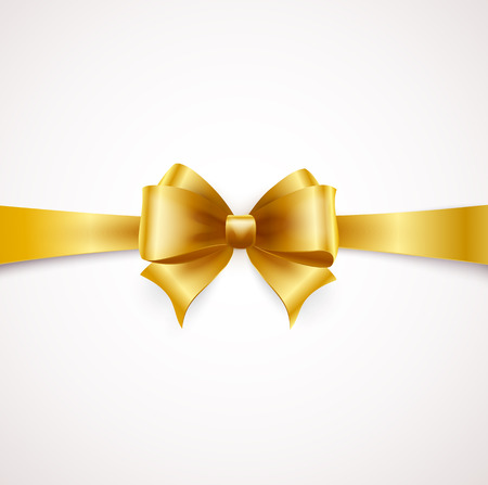 Holiday ribbon and Golden bow. Vector illustration
