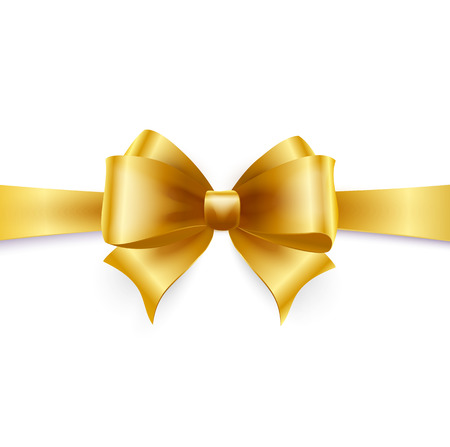 silk ribbon: Golden bow isolated on white. Vector illustration