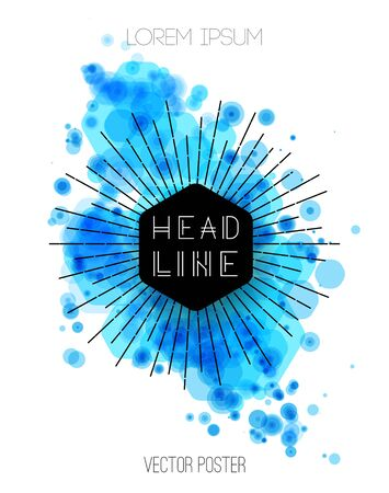 blue design: Vector abstract background with blue color splash. Retro style design for poster or cover Illustration