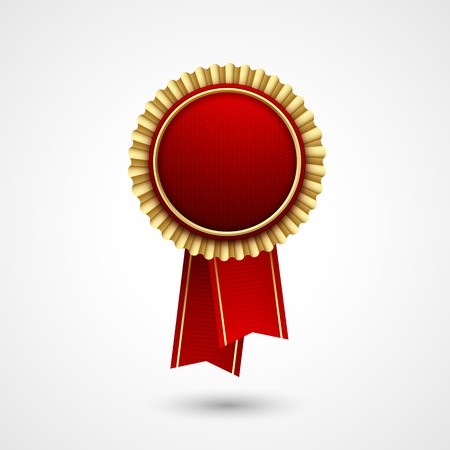 prize: Red Color vector award  badge and ribbon. Premium quality. Best price, choice. Illustration