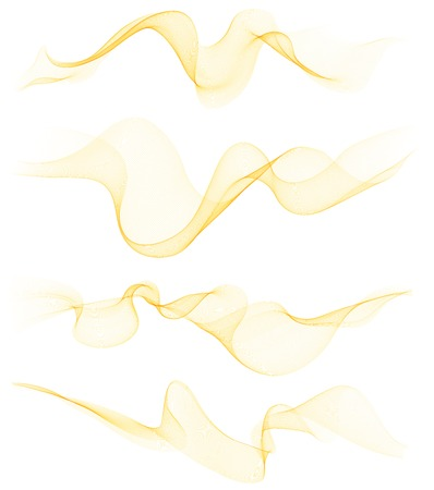 wave abstract: Set of transparent soft lines on white.  Vector orange and yellow abstract waves. For cover book, brochure, flyer, poster, magazine, website, app mobile, annual report, cosmetics, perfumes