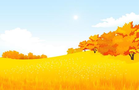Vector illustratie herfst landschap met weide en bos