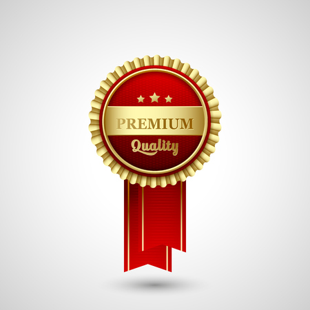 label design: Vector illustration  Premium Quality Badge red  Label design