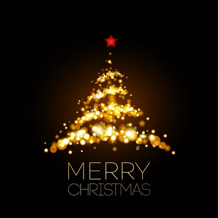 Shiny Gold Christmas tree  in black poster . Vector illustration. Vettoriali