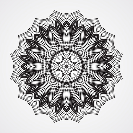meditation isolated white: Abstract round ornament. Illustration