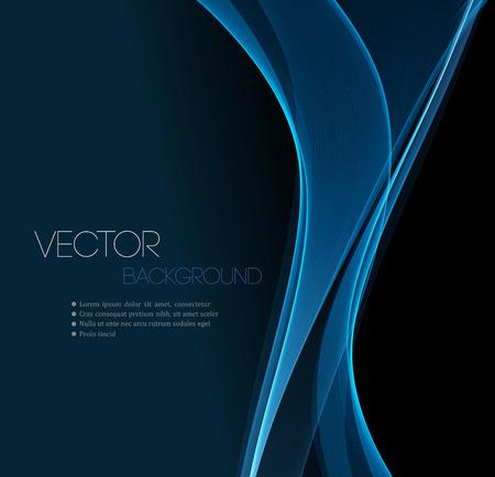 абстрактный: Синий Гладкий волна поток линия макет абстрактный заголовок. Векторная иллюстрация