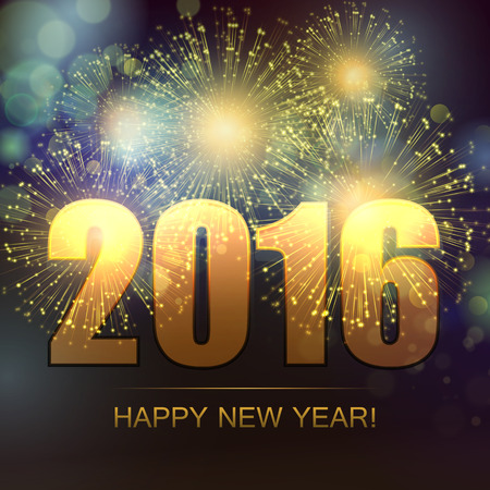 new year card: Vector Holiday Fireworks Background. Happy New Year 2016