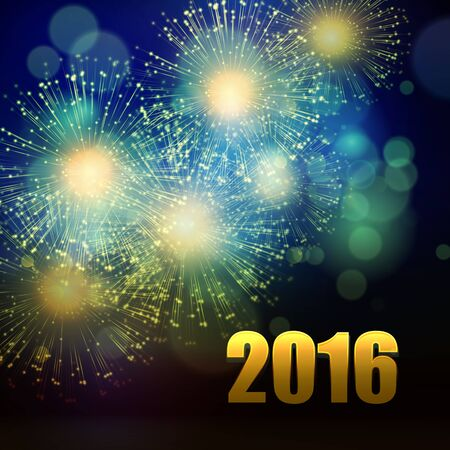 celebration background: Vector Holiday Fireworks Background. Happy New Year 2016