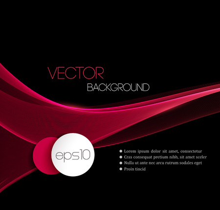 black lines: Red Smooth wave stream line abstract header layout. Vector illustration