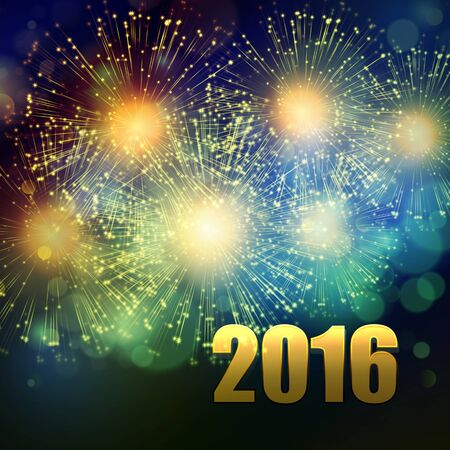 yaer: Vector Holiday Fireworks Background. Happy New Year 2016