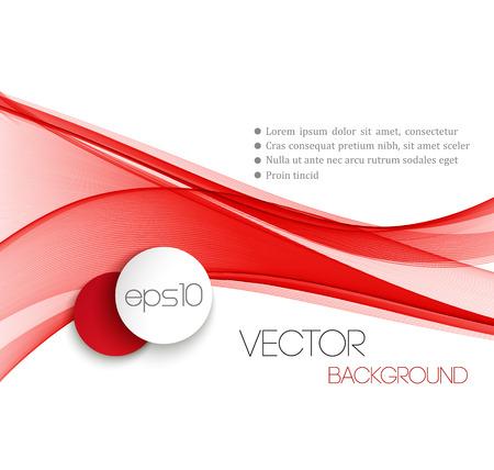 rojo: Línea de corriente de onda suave diseño encabezado abstracto rojo. Ilustración vectorial