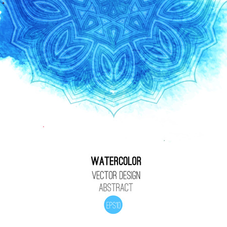 Blue watercolor brush wash with pattern - round tribal elements. Vector ethnic design in boho style. Illustration