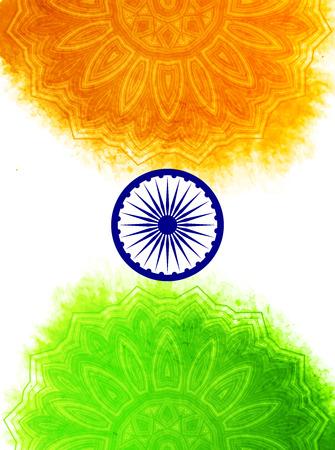 bandera de la india: Concepto indio creativo Día de la Independencia con la rueda de Ashoka y estampado de flores decorativo en tricolores de la bandera nacional.