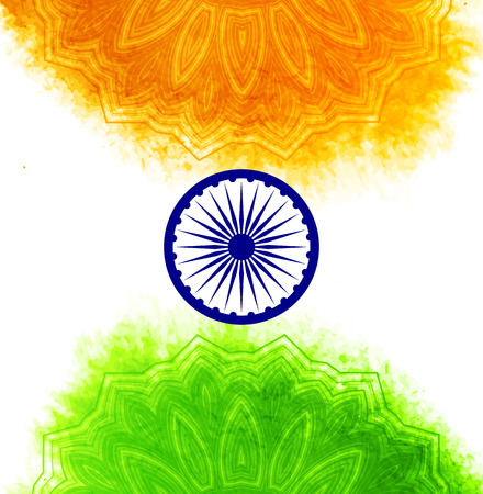 independence: Creative Indian Independence Day concept with ashoka wheel and decorative floral pattern in national flag tricolors.