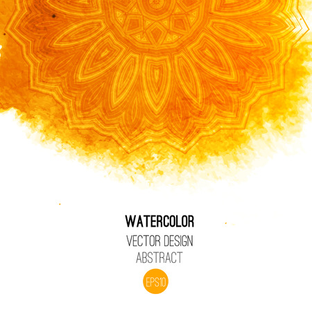 yellow background: Orange watercolor brush wash with pattern - round tribal elements. Vector ethnic design in boho style. Illustration