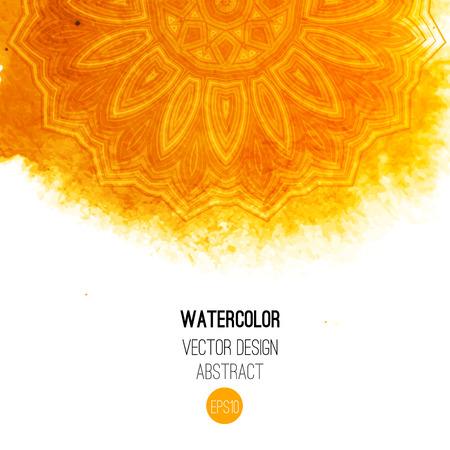 amarillo: Pincel de acuarela naranja lavar con el modelo - ronda de elementos tribales. Vector diseño étnico en estilo boho.