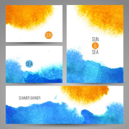 sun beach: Watercolor sea background poster or card template vector art. Watercolor summer beach print set.