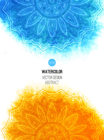 blue sea: Orange watercolor brush wash with pattern - round tribal elements. Vector ethnic design in boho style. Illustration