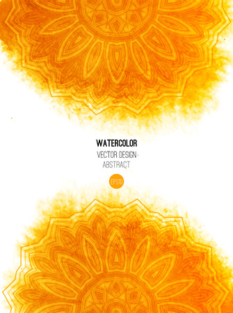 yellow: Orange watercolor brush wash with pattern - round tribal elements. Vector ethnic design in boho style. Illustration