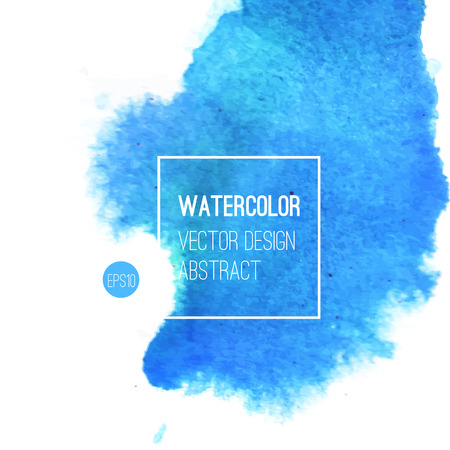 watercolor paper: Abstract watercolor background. Blue Hand drawn watercolor backdrop, texture, stain watercolors on wet paper. Vector illustration Illustration