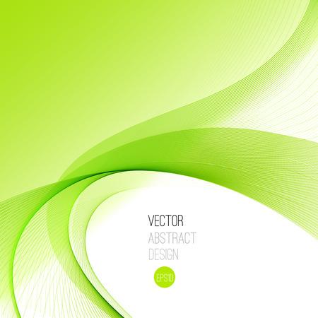 グリーン滑らかな波のストリーム ライン抽象的なヘッダーのレイアウト。ベクトル図  イラスト・ベクター素材