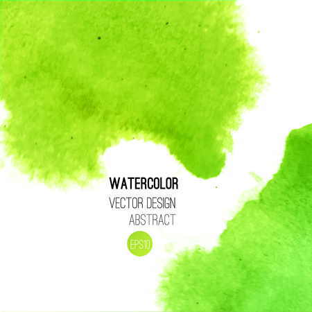 Abstract watercolor background. Green Hand drawn watercolor backdrop, texture, stain watercolors on wet paper. Vector illustration