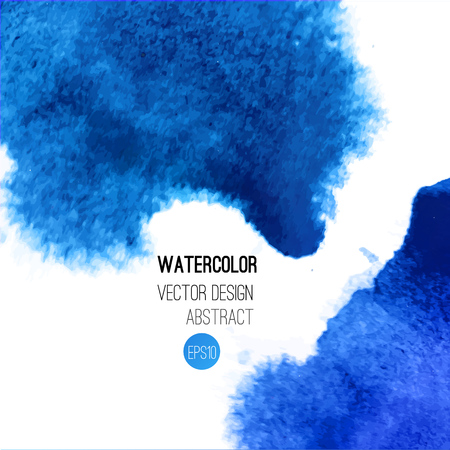 wet: Abstract watercolor background. Blue Hand drawn watercolor backdrop, texture, stain watercolors on wet paper. Vector illustration Illustration
