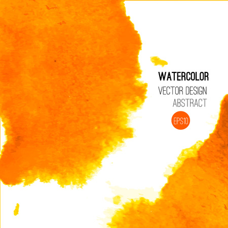 orange splash: Abstract watercolor background. Orange Hand drawn watercolor backdrop, texture, stain watercolors on wet paper. Vector illustration