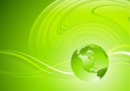 globe world: Abstract green color waves with globe. Vector design eps 10