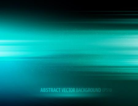 color design: Vector abstract horizontal energy design blue color on dark background Illustration
