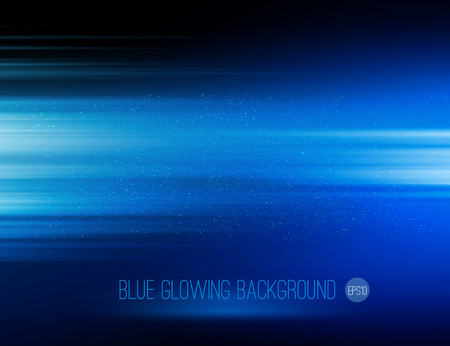 light speed: Vector abstract horizontal energy design blue color on dark background Illustration