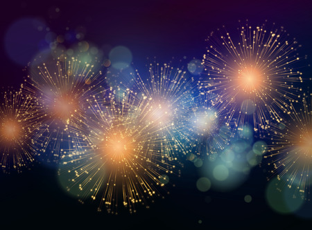 new year celebration: Vector Holiday Fireworks Background. Happy New Year 2016