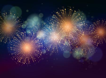 fuegos artificiales: Vector de vacaciones fuegos artificiales de fondo. Feliz A�o Nuevo 2016 Vectores