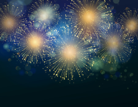 new year: Vector Holiday Fireworks Background. Happy New Year 2016