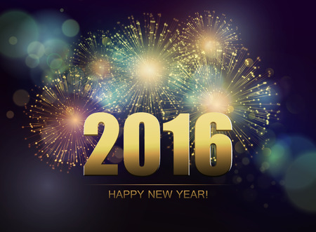 greetings from: Vector Holiday Fireworks Background. Happy New Year 2016