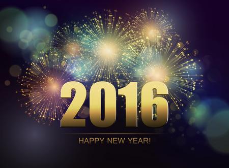 happy new year: Vector Urlaub Feuerwerk Hintergrund. Frohes Neues Jahr 2016 Illustration
