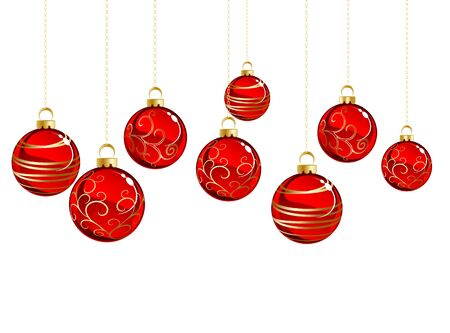 red christmas background: Red Christmas balls with gold pattern on white background