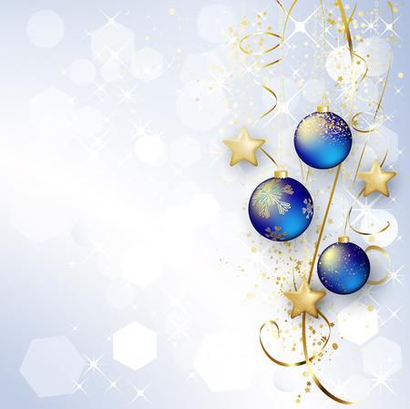 feriado: Antecedentes de vacaciones con bolas de Navidad y copos de nieve.