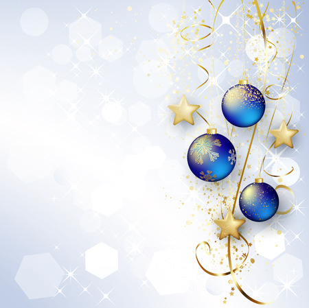 sparkle background: Holiday Background with Christmas baubles and snowflakes.
