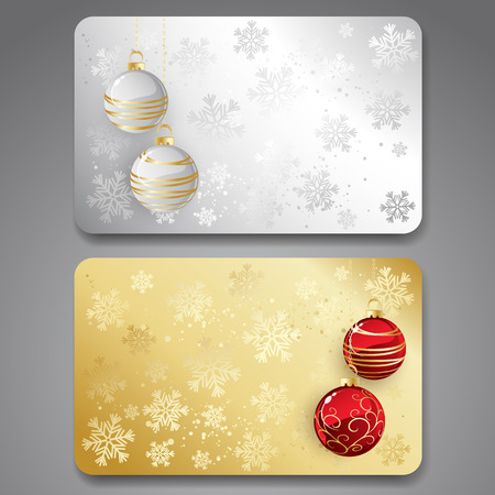 christmas gift: Collection of gift cards with christmas balls.