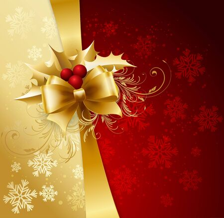 red and gold: Holiday Background with Christmas baubles and snowflakes.