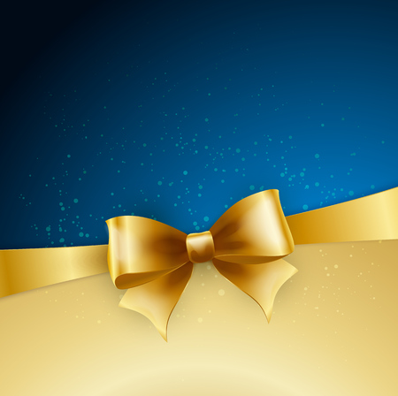 Holiday golden bow on blue background. Stock Illustratie