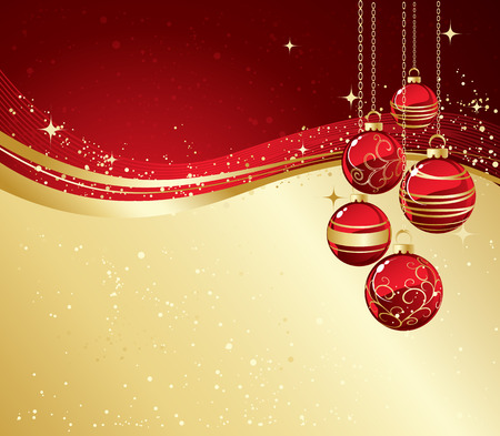 red christmas background: Holiday Background with Christmas baubles and snowflakes.