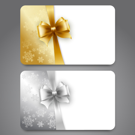 holiday background: Collection of gift cards with snowflakes and  ribbons.