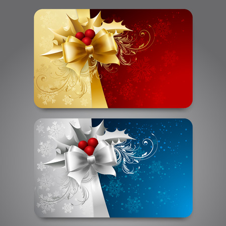 red christmas background: Collection of gift cards with snowflakes and  ribbons.