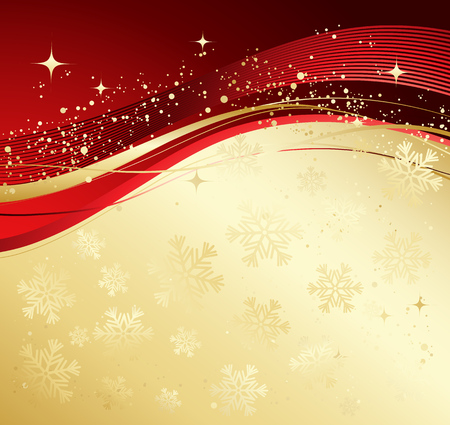 Gold and red winter abstract background.