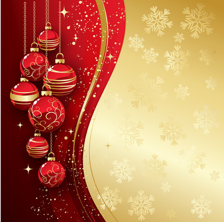 holiday background: Holiday Background with Christmas baubles and snowflakes.