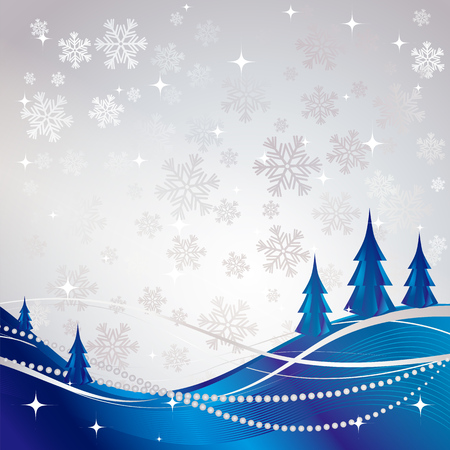 Silver winter abstract background with blue Christmas tree.