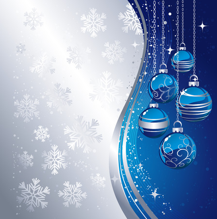 blue christmas: Holiday Background with Christmas baubles and snowflakes.